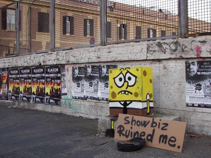 """street art by Pao. """"Spongebob"""". 2012. Rome http://restreet.altervista.org/angoli-desolati-del-panorama-cittadino-diventano-piccole-isole-di-colore/"""