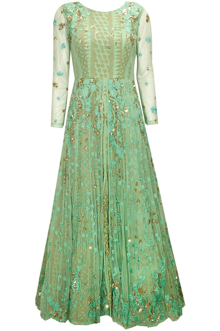 Mint green sequins embroidered anarkali gown by Astha Narang. Shop at : http://www.perniaspopupshop.com/designers/astha-narang #shopnow #perniaspopupshop #asthanarang