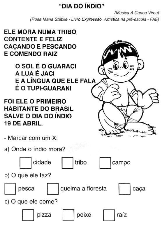 Resultado de imagem para atividades para DIA DO INDIOeducação infantil