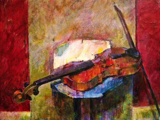 Red Violin, oil on canvas by James Bland