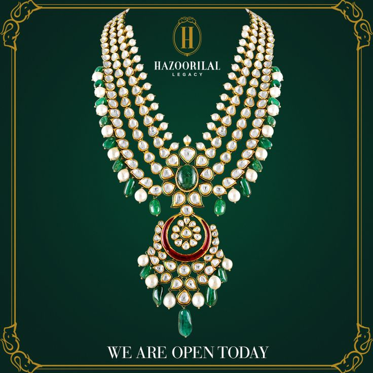 #PolkiPerfection : An extravagant masterpiece that perfectly captures the essence of royal India... Bid your Monday blues adieu, experience this essence today at the Hazoorilal Legacy showrooms in South Ex and Gurgaon. #HazoorilalLegacy #Hazoorilal #Jewelry #KundanPolki #Necklace #WeddingJewelry