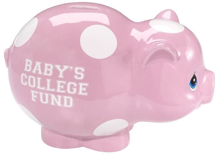 "Precious Moments Baby's College Fund"" Pink Piggy Bank"