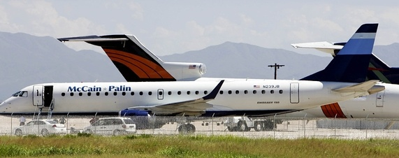 Embraer 190 - McCain & Palin - http://blogs.wsj.com/middleseat/2008/09/08/sarah-palins-private-campaign-plane/