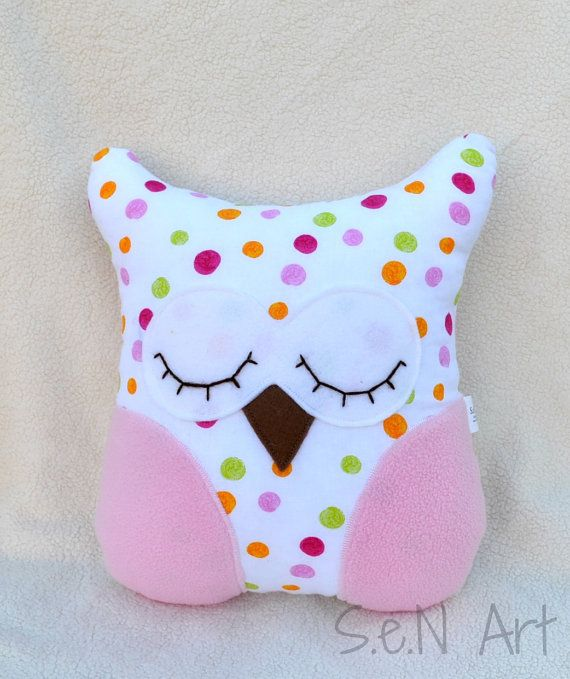 Owl Pillow Handmade Owl Soft Toy Nursery Decor by SenArt1 on Etsy
