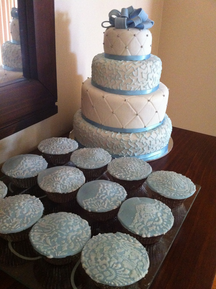 Baptism cake & lace cupcakes