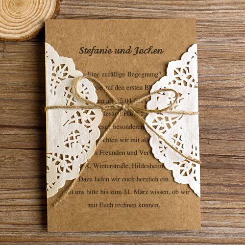Vintage rustikal Spitze Tasche Einladungskarten Hochzeit mit Jute Seil