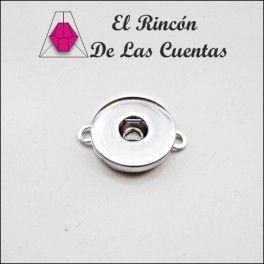 Entrepieza Click dos agujeros de 25mm color plata - El rincón de las cuentas