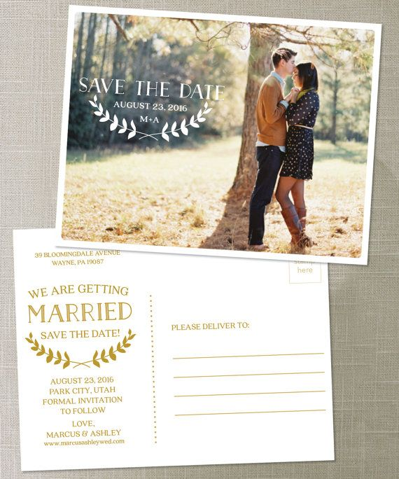 Delightful Postcard Save The Date Wedding Save The By CreativeUnionDesign