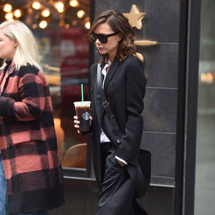 Victoria Beckham in Victoria Beckham, Adidas, and Starbucks