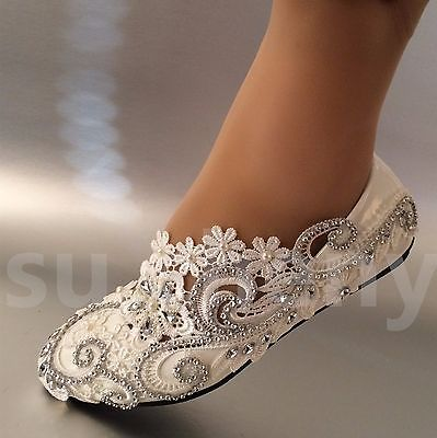 Cristal de Encaje Blanco/Marfil Perlas Boda Zapatos Planos Ballet Traje de Novia Talla 5-12