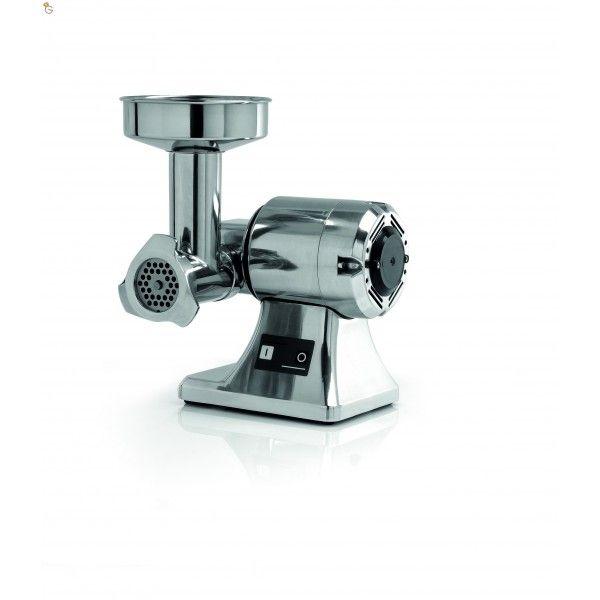 Tritacarne TS 8  Elegante fascia in acciaio inossidabile sulla carcassa motore   Motore asincrono ventilato con termica di protezione Gruppo macinazione carne asportabile disponibile in:  a) Ghisa alimentare con trattamento  electroless nikel plating (12-22-32) b) Alluminio anodizzato (12-22) c) Acciaio inossidabile AISI 304 (8 -12 -22- 32)  Inversione di marcia (a richiesta) Dimensioni alimentazione 120 x 52 mm Dimensioni scarico 8/60 mm 12/70 mm 22/82 mm 32/ 98 mm