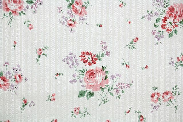 1940's Vintage Wallpaper - Pink and Lavender Roses on pin stripe background by HannahsTreasures on Etsy https://www.etsy.com/listing/189138638/1940s-vintage-wallpaper-pink-and