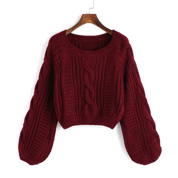 Round Neck Crop Maroon Sweater ($21) ❤ liked on Polyvore featuring tops, sweaters, red, long sleeve sweaters, cable sweater, red sweater, crop top and red cable knit sweater