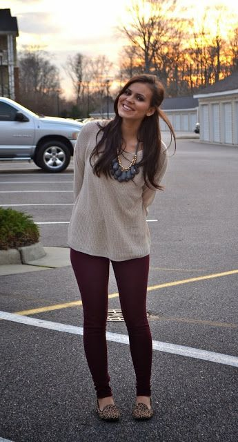 Pale Taupe Long Sleeve Sweater With Burgundy Leging And Leopard Shoes。 Fall…