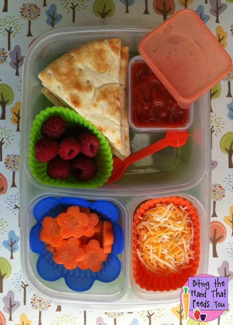 Kid Lunch Ideas: DIY Pizzables Lunch I like the silicone cupcake liner to hold small food bits.