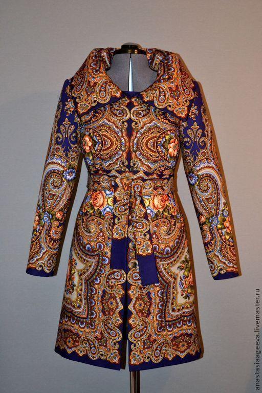 """Купить Пальто из платка """"Юлия"""". - орнамент, одежда из платков, ручная работа…"""