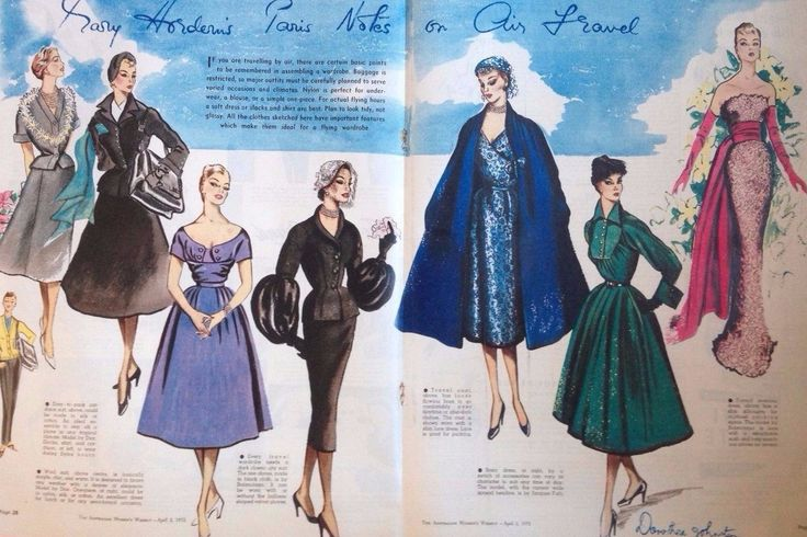 1952 Original PARIS NOTES RETRO DIOR COUTURE vintage AUSTRALIAN fashion art in…