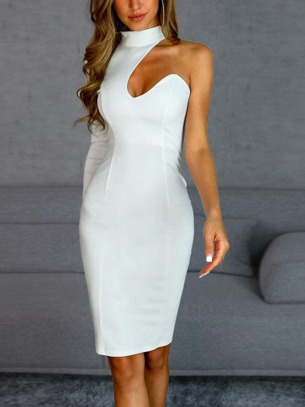 6902dfe97cb One Sleeve Lace-Up Back Bodycon Dress. Women's Clothing, Dresses ...