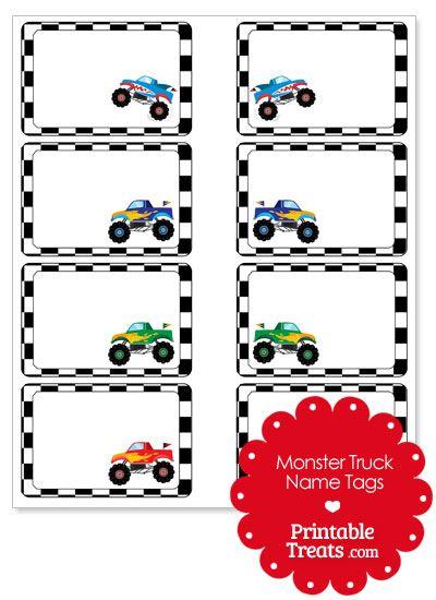 Printable Monster Truck Name Tags from PrintableTreats.com