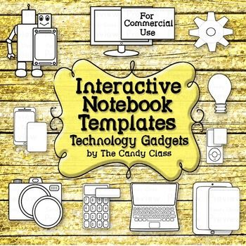 Interactive Notebook Templates: Technology Clip Art with Tablet, Robot & More