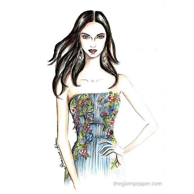 #Buongiorno a tutti! Per realizzare questa #illustrazione, ho impiegato 6 ore, spero vi piaccia! È un delizioso abito ricamato di @albertaferretti! . . #fashionillustration #fashionillustrated #doodle #illustration #goodmorning #picoftheday #glam #girlb#embrodery #albertaferretti #moda #italianstyle #fashionsketch #sketch #fashiondraw #draw #watercolor #pencildraw #instaart #artwork #artist #giovannasitran www theglampepper.com