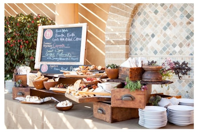 Love the set up of this appetizer station: Buffets, Old Drawers, Buffet Display, Parties, Food Stations, Wedding Foods, Heirloom La, Wedding Food Displays, Catering Ideas