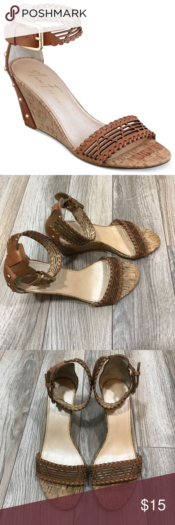 Marc Fisher Brown Caelin Cork Wedge Stud Sandal Great used condition Marc Fisher Caelin sandals size 7. They are in need of some Glue as evidenced in last photo. Slightly discolored at ankle strap but hardly noteiceable when worn (evidenced in second to last photo). Beautiful sandals for a night out or dress them down with jeans! Marc Fisher Shoes Wedges