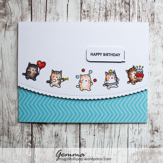 I'm really enjoying colouring these adorable cats from the Mama Elephant Little Cat Agenda stamp set.          For this card, I wanted a bi...