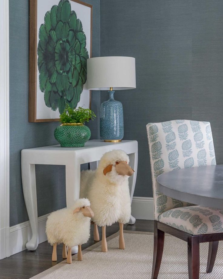 Sheep Thrills Interior Design By @lizcaan Featuring The Culloden Table Lamp  By AERIN In Blue