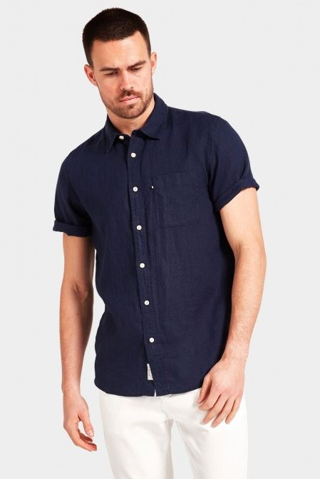 The Academy Brand - Hampton Linen Shirt - Navy
