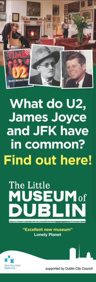 The Little Museum of Dublin Streetlamp Banners. #U2 #JFK #JamesJoyce