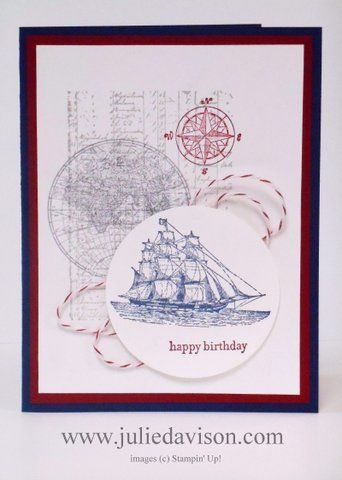 Masculine Birthday Card with Open Sea Stamp Set #stampinup #fathersday www.juliedavison.com