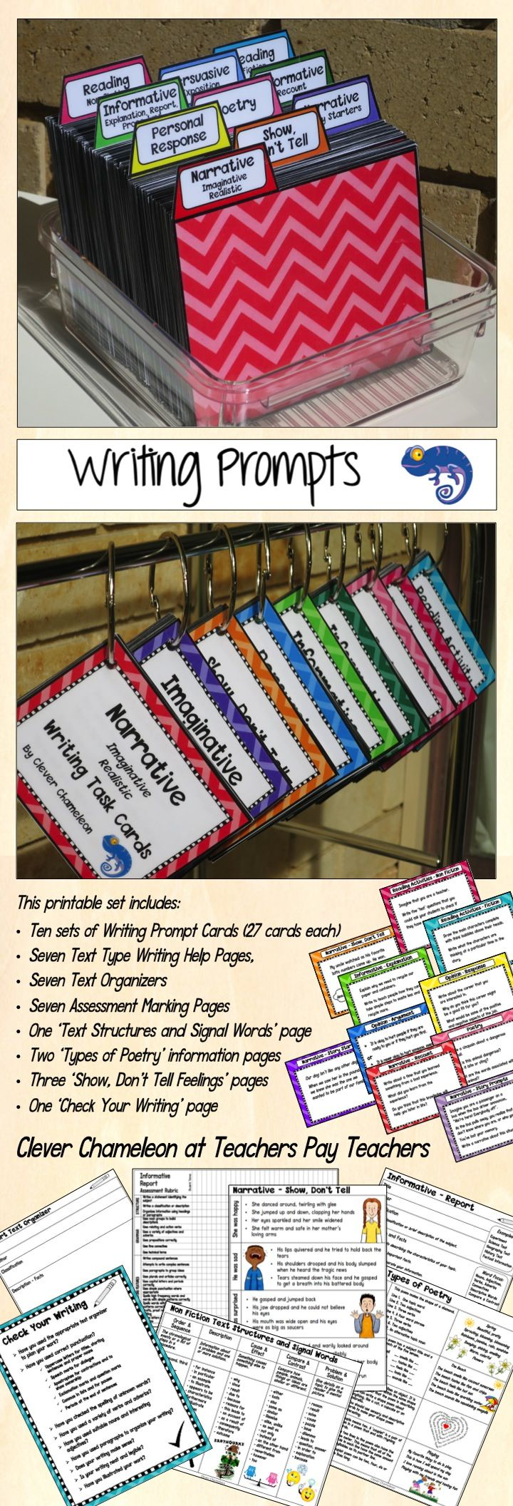 Writing Prompts - Task Cards Bundle includes 270 writing prompt cards under ten separate headings and a variety of writing help pages.