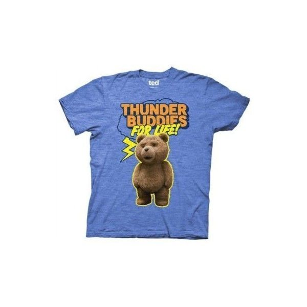 Ted T-shirt Movie Ted Thunder Buddies for Life Adult Royal Tee ($18) ❤ liked on Polyvore featuring tops, t-shirts, shirts, blue top, t shirts, blue t shirt, blue shirt and shirt top