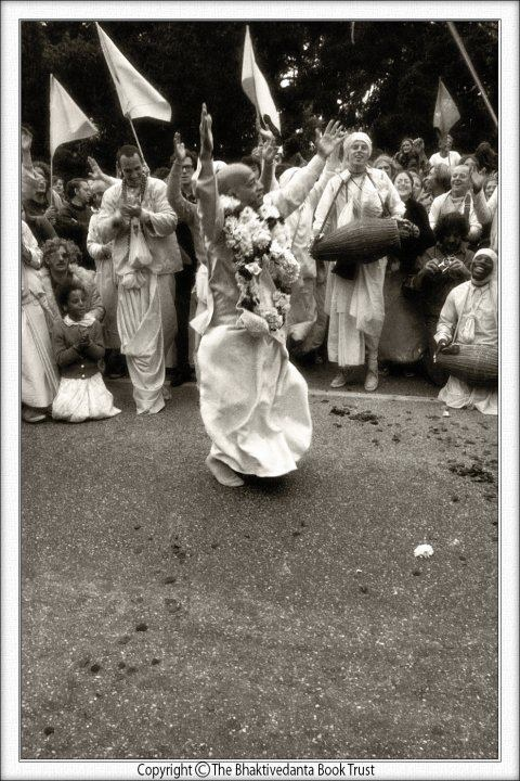 The singing and dancing of Hare Krishna is known as kirtana. My spiritual master…