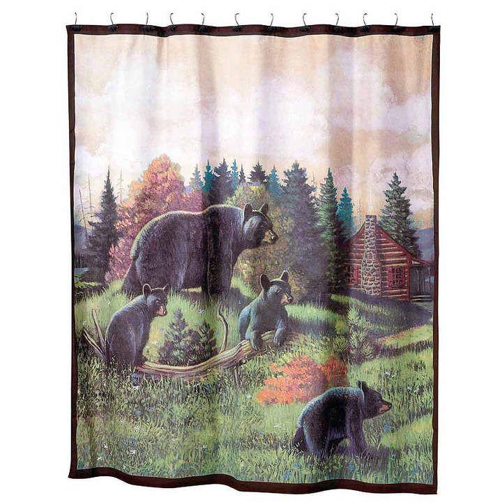 Avanti Black Bear Lodge Shower Curtain Black Bear Lodge Fabric
