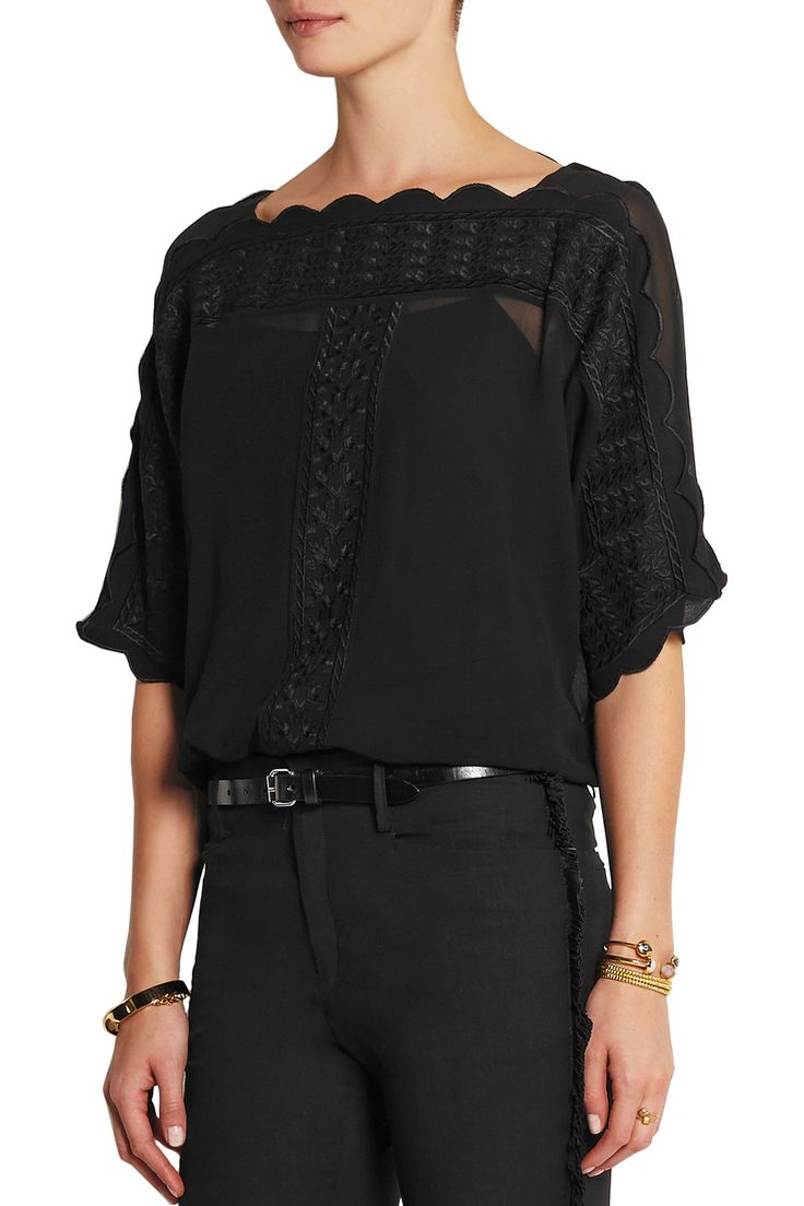 Étoile Isabel Marant Axel embroidered georgette top