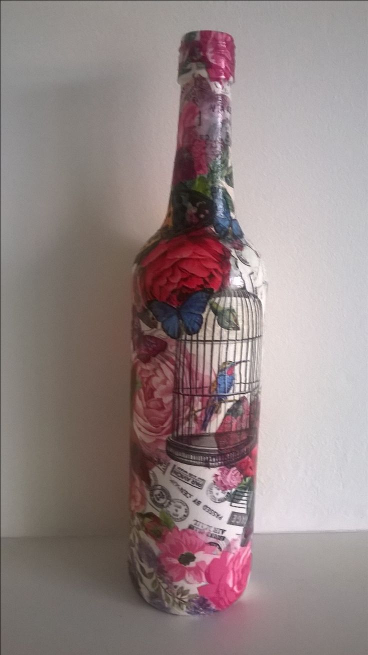 decoupage wine bottle
