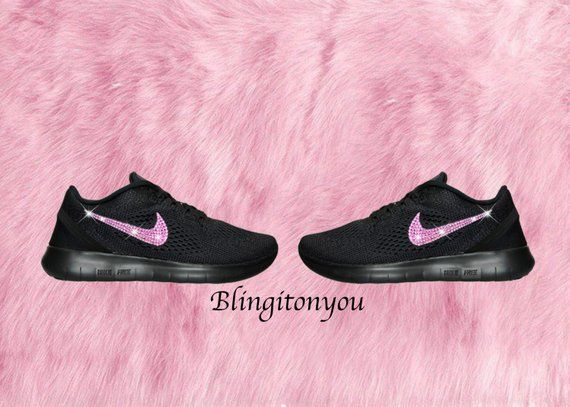 5d0768cd15778 Black Swarovski Nike Free RN Running Shoes Customized With Pink ...