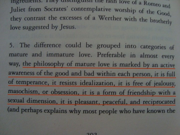 the philosophy of mature love... • Essays in love by Alain de Botton.