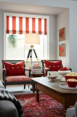 This Transitional Rec Room Sitting Area Features A Red Striped Shade,  Chairs Upholstered In A Red Paisley Print, Paintings With Red On Them And A  Red ... Part 96
