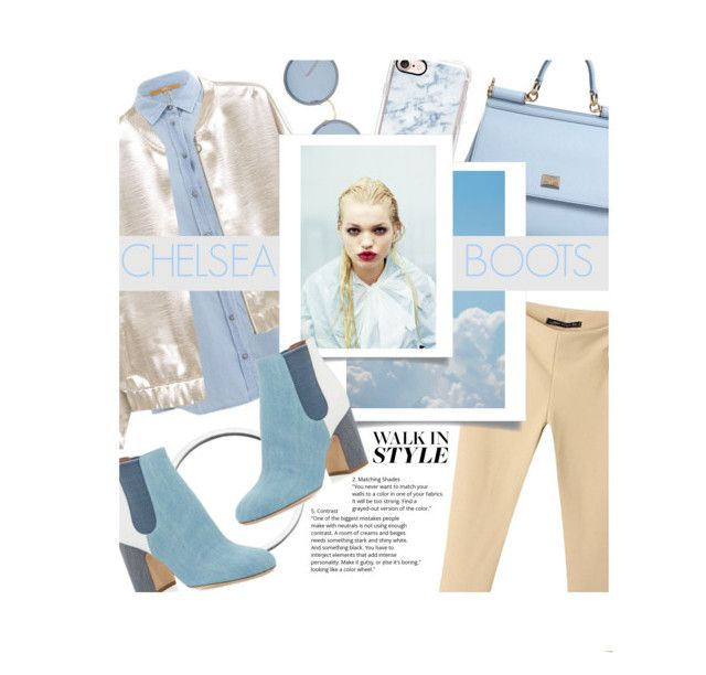 """My Blue ""Chelsea"" Boots"" by vxstitus ❤ liked on Polyvore featuring Laurence Dacade, BOSS Orange, MANGO, Dolce&Gabbana, Linda Farrow, Casetify, Blue, Tan and chelseaboots"