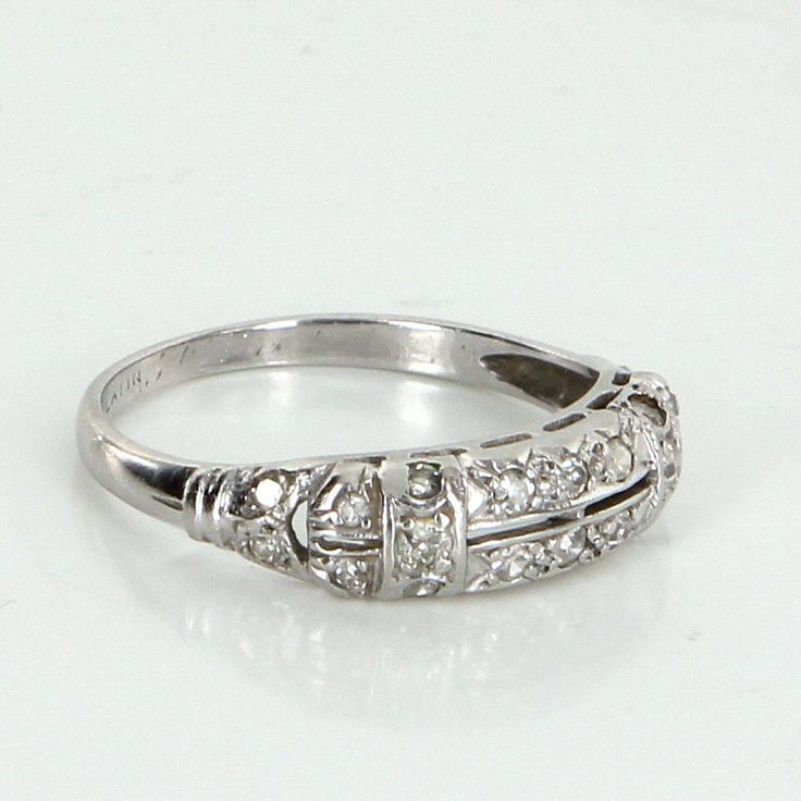 Vintage Art Deco 900 Platinum Diamond Wedding Band Ring Estate Heirloom Jewelry 6.5