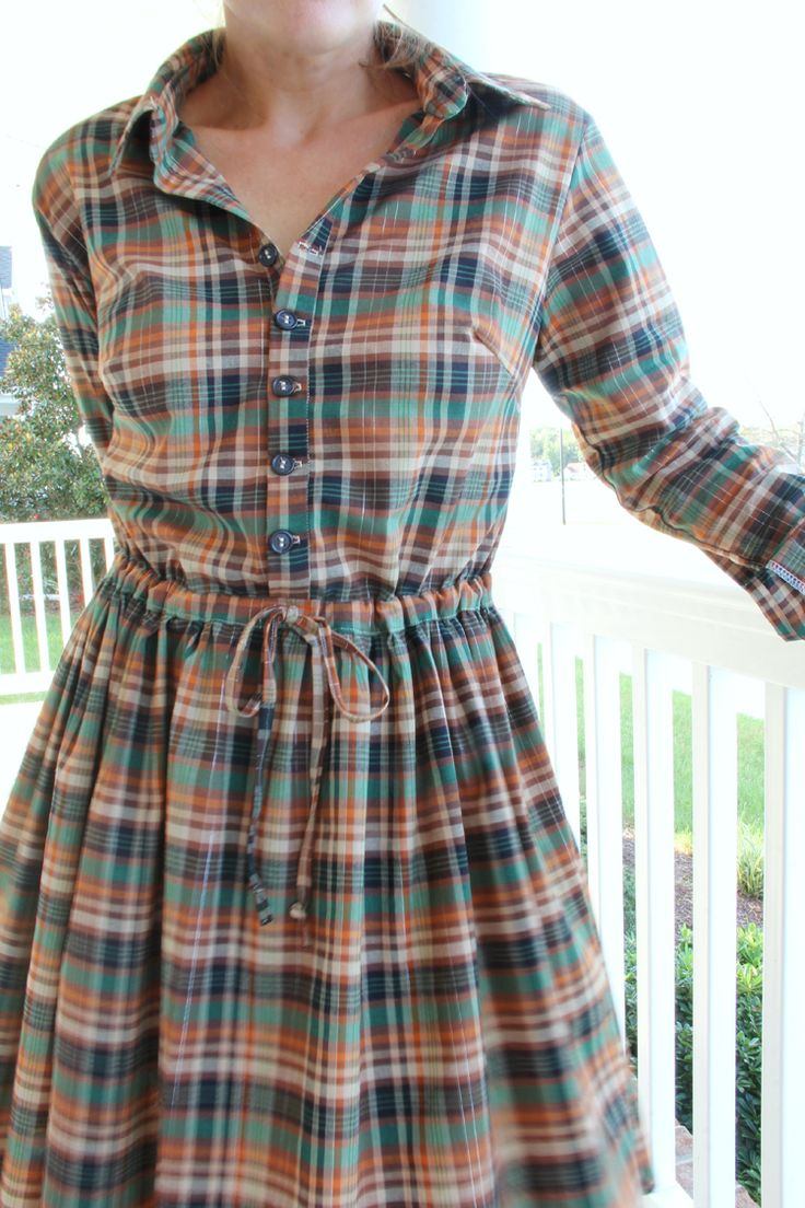 Women's button up collared shirt, with cuff sleeves ---> Long Sleeve Shirt Dress DIY