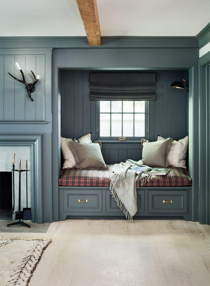 Living room design with built in cozy reading nook | KJ Designs