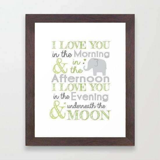 Elephant Nursery Poem - Green Framed Art Print