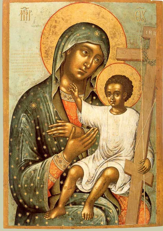 modern Orthodox icon keeping the tradition of the brown-skinned Madonna and Child.