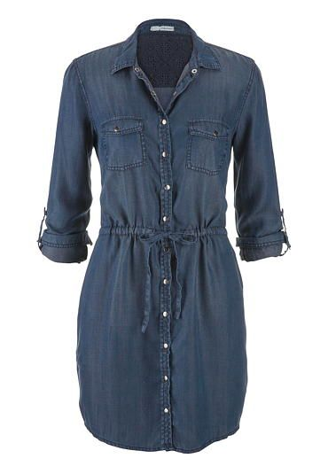 chambray shirtdress in dark wash available at #maurices