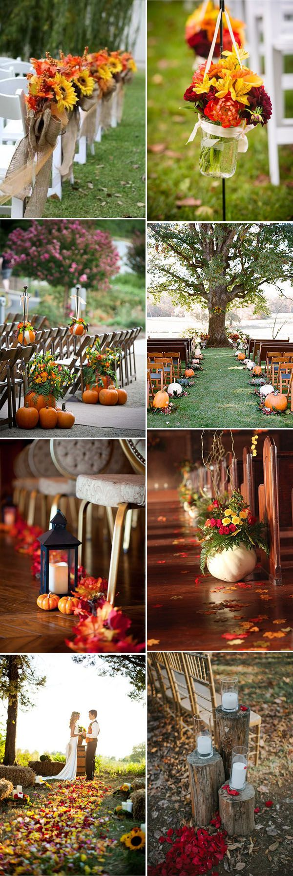 charming fall wedding ceremony aisle decoration ideas