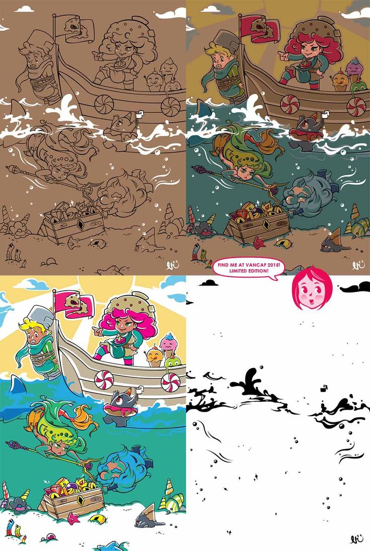O'er Yonder - print process: Line art > Color > print and silk screen separations